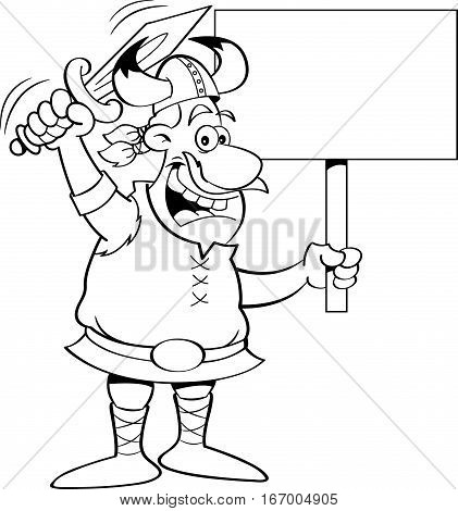 Black and white illustration of a viking waving a sword and holding a sign.