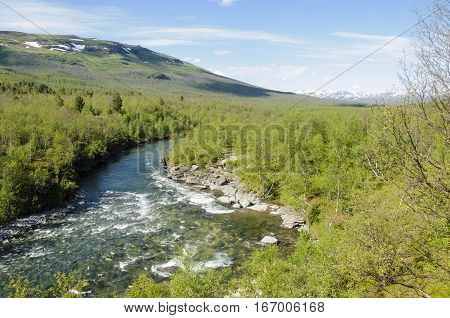 River flows through the wood in Abisko National Park Swedish Lapland Sweden Europe