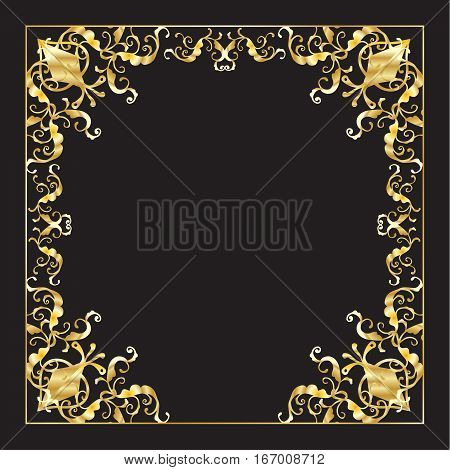 Gold decorative frame for Purim, Pesach, New Year Jewish Holiday poster, greeting cards, Anniversary advertising design. Luxury decoration Vector template