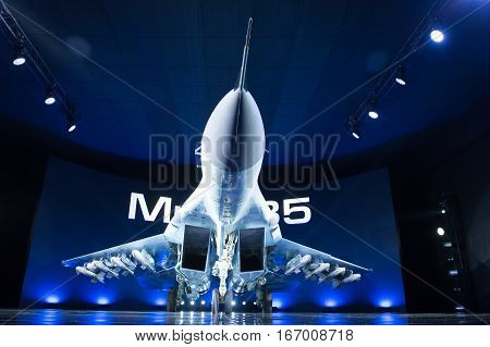 Lukhovitsy,Moscow Region, Russia - January 27,2017: Presentation of the new aviation system MiG-35