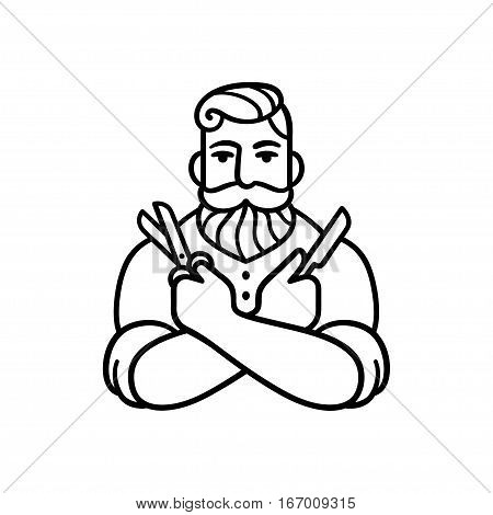 Retro style Barber man with comb and shaving blade. Stylized logo illustration. Hipster barber with beard.