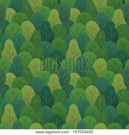 Seamless forest background. Repeating pattern of hand drawn trees in muted vintage colors. Vector illustration.