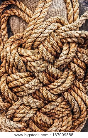ropes jute tackle, industrial background, natural texture