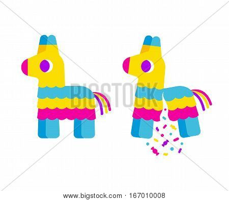 Bright striped cartoon pinata. Broken with confetti and candy. Cute simple flat vector illustration.