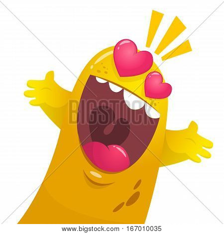 Cartoon yellow blob monster in love. St Valentines vector illustration of excited loving monster