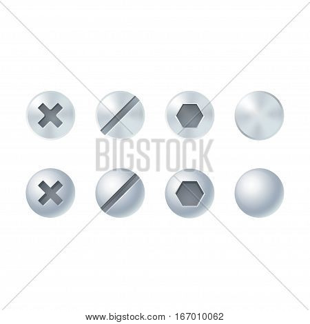 Screw and bolt heads set different types and shapes. Isolated vector design elements.