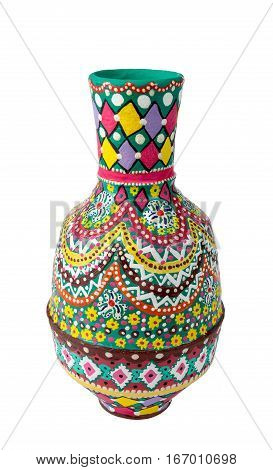 Egyptian decorated colorful painted pottery vase (arabic: Kolla) an Ancient Egyptians tradition isolated on white