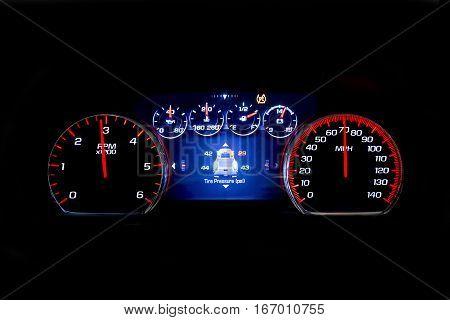 Modern Light Car Mileage On Black Background Tsi