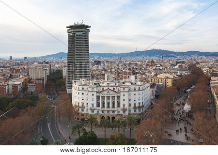Barcelona Spain - January 02 2017: The Palace of Naval Command of Barcelona on the background of the urban landscape