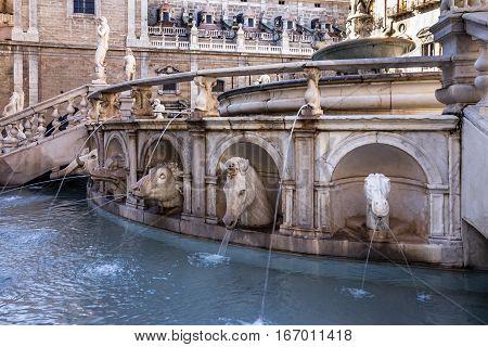 Palermo Fontana Pretoria, Sicily, Italy. Historical buildings landmarks Piazza Pretoria