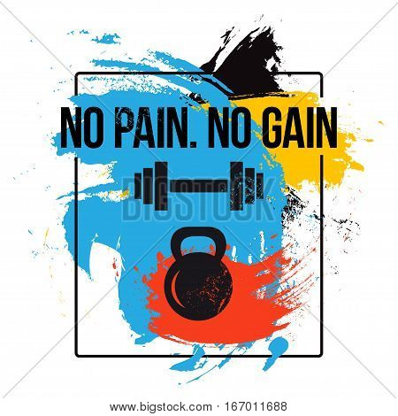black kettlebell and barbell on colorful brush background with motivation text - no pain. no gain. Fitness quote. Vector illustration.
