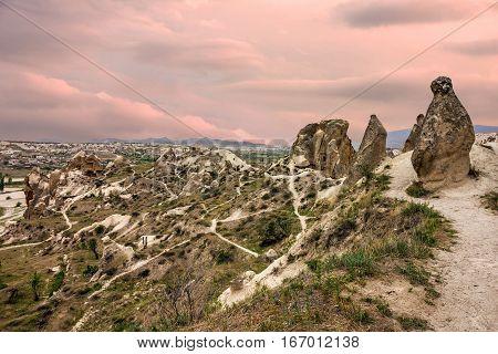 Volcanic mountains, Cappadocia, Anatolia, Turkey. Goreme national park.