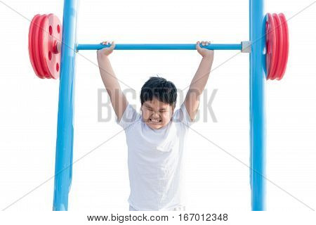 Isolated Portrait Of Obese Fat Boy Exercising Weight Lifting