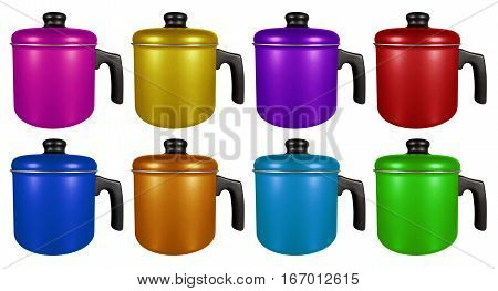 Colorful saucepans with hand isolated on white background