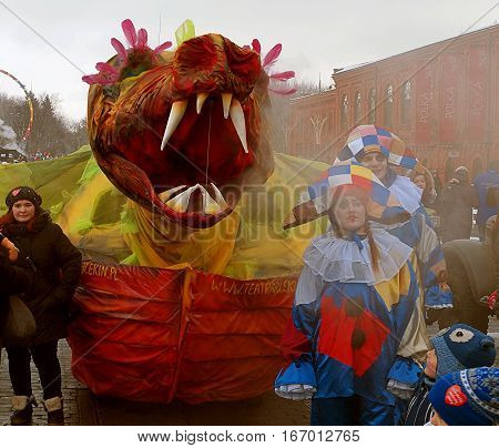 Dragon. Lodz, Poland - January 15, 2017 Dragon with smoke gaping mouth, unusual attraction during the final of the Orchestra of Christmas Charity in Lodz.