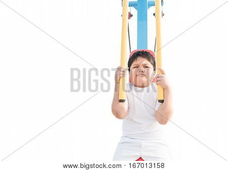 Obese Fat Boy Exercise Isolated On White