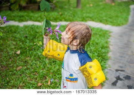 Young Boy Holding A Tropical Stem In The Garden Looking And Smelling The Flower Head