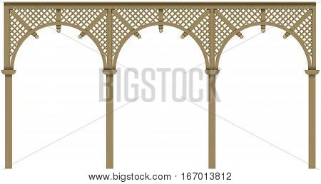 Arcade classic wooden veranda house or shed pergola. Vector graphics