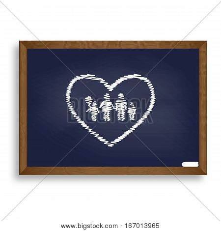 Family Sign Illustration In Heart Shape. White Chalk Icon On Blu