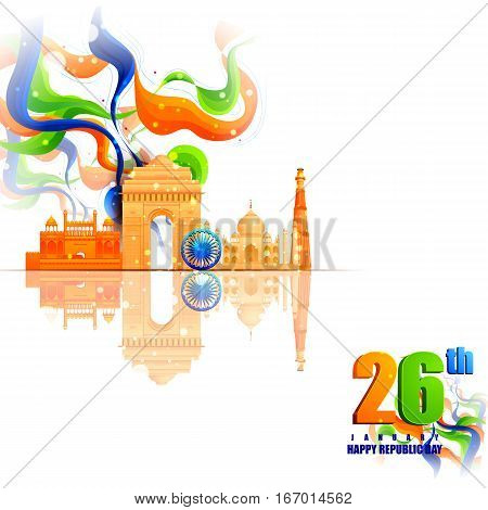 easy to edit vector illustration of Monument and Landmark of India on Indian Republic Day celebration background