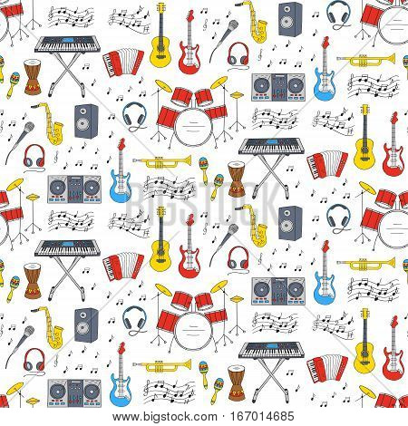 Music icons vector illustrations hand drawn doodle seamless background.  Musical instruments and symbols guitar, drum set, synthesizer, dj mixer, stereo, microphone,  accordion, saxophone, headphones.