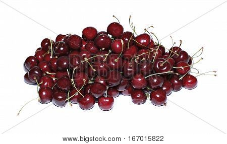 Red ripe cherry berries isolated on white background