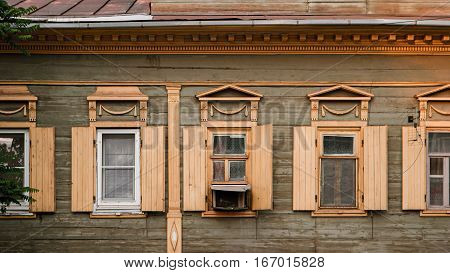 Astrakhan, Russia, 24 May 2016: Windows of Old wooden house in Old City Center of Astrakhan-city.