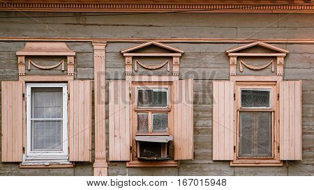 Astrakhan, Russia, 24 May 2016: Old wooden house in Old City Center of Astrakhan-city.