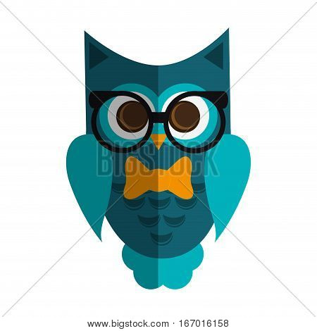 owl cartoon with glasses over white background. colorful design. vector illustration