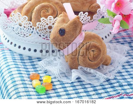 Easter bunny shaped sweet bread. Homemade bread rolls. Easter treat. Selective focuse. Horizontal.