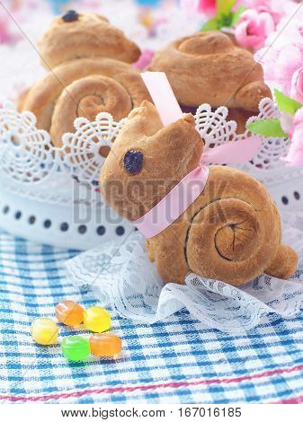 Easter bunny shaped sweet bread. Homemade bread rolls. Easter treat. Selective focuse. Vertical.