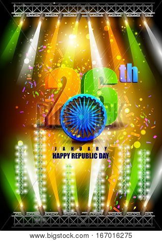 easy to edit vector illustration of tricolor background for Happy Republic Day of India
