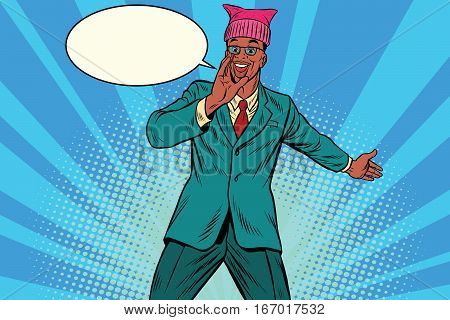 Politician man in a pussyhat campaigning. Retro pop art comic vector illustration. African American people