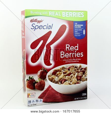 Spencer Wisconsin January272016 Box of Kellog's Special K Red Berries Kellog's is an American based company founded in 1906