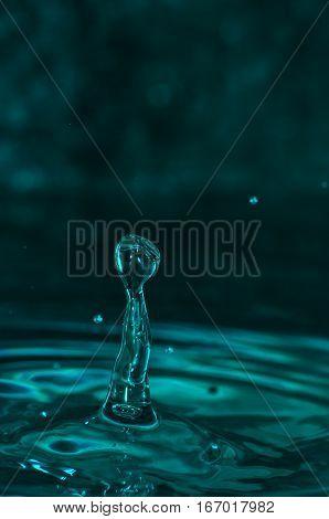 Water drops macro shapes in the liquid