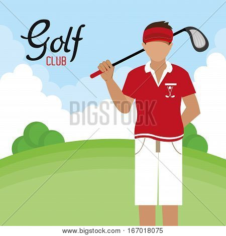 golf club golfer avatar vector illustration design