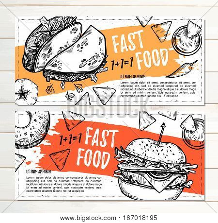 Hand Drawn Vector Illustration - Promotional Brochure With Fast Food. Gamburger, Donut, Takos And Na