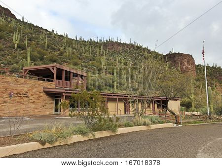 ROOSEVELT, ARIZONA, JANUARY 16. Tonto National Monument on January 16, 2017, near Roosevelt, Arizona. The Visitor Center and Museum at Tonto National Monument in Arizona.
