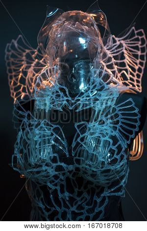 Skeleton, Crystal skull styling with colorful light effects, transparent plastic suit