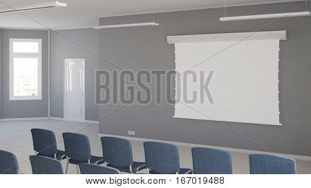 Business seminar room with whiteboard on the wall (3D Rendering)
