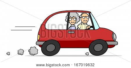 Couple of senior citizens driving on their holiday vacation trip