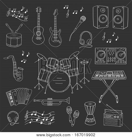 Music icon set vector illustrations hand drawn doodle. Musical instruments and symbols guitar, drum set, synthesizer, dj mixer, stereo, microphone, trumpet, accordion, saxophone