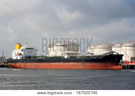 Oil tanker moored at an oil terminal.