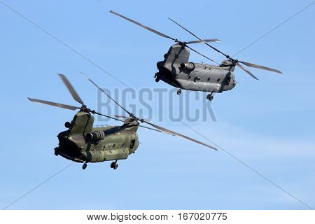 GILZE-RIJEN THE NETHERLANDS - SEP 7 2016: Royal Netherlands Air Force CH-47 Chinook transport helicopters.