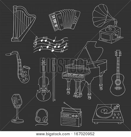 Music icon set vector illustrations hand drawn doodle. Musical instruments and symbols piano, guitar, accordion, gramophone, harp, saxophone, violin, microphone