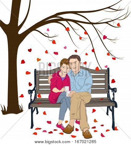 Vector illustration of a man and woman sitting together on a bench, the man has his arm around the woman, each is holding a cup of coffee. In the background is a tree with small heart shapes falling to the ground.