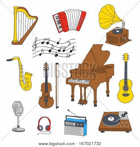 Music icon set vector illustrations hand drawn doodle. Musical instruments and symbols piano, guitar, accordion, gramophone, harp, saxophone, violin, music notes, microphone