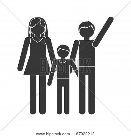 silhouette family mom dad and son together members vector illustration eps 10
