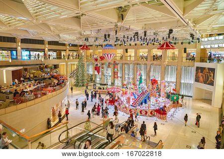 HONG KONG - CIRCA NOVEMBER, 2016: Christmas decorations at the atrium of The Landmark.