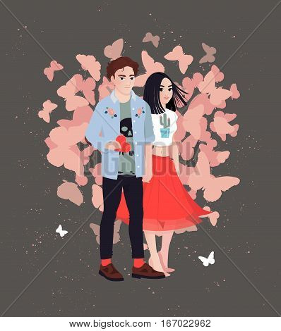 Valentine vector print with enamored couple characters. Love confession.